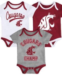 Washington State Cougars 3 Pack Champ Onesie Creeper Set