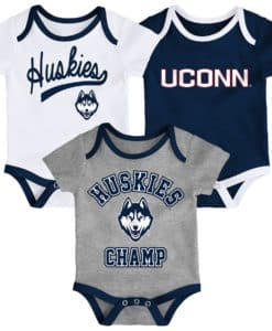 Connecticut Huskies UCONN Baby 3 Piece Champ Onesie Creeper Set