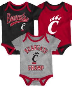 Cincinnati Bearcats Baby 3 Piece Champ Onesie Creeper Set