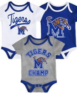 Memphis Tigers Baby 3 Piece Champ Onesie Creeper Set