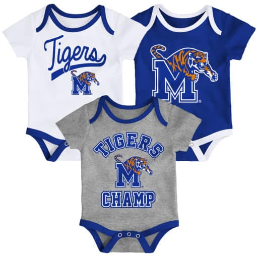 Memphis Tigers Baby 3 Piece Champ Onesie Creeper Set