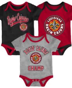 Louisiana Ragin Cajuns 3 Pack Champ Onesie Creeper Set