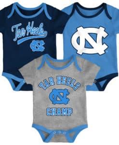 North Carolina Tar Heels Baby 3 Piece Champ Onesie Creeper Set