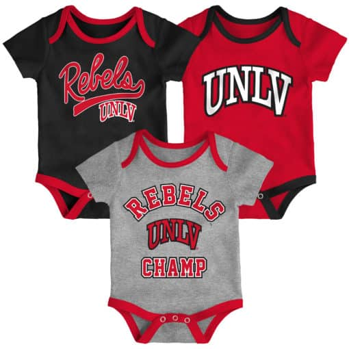 UNLV Rebels Baby 3 Piece Champ Onesie Creeper Set