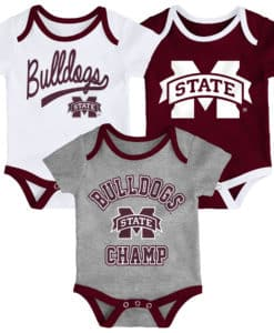Mississippi State Bulldogs Baby 3 Piece Champ Onesie Creeper Set