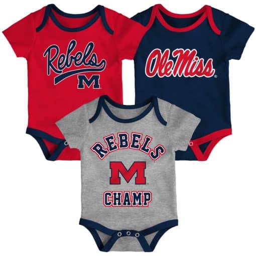 Mississippi Ole Miss Rebels Baby 3 Piece Champ Onesie Creeper Set
