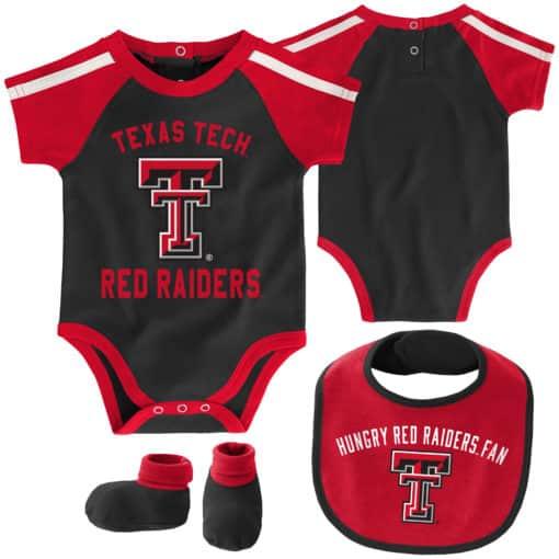 Texas Tech Red Raiders Baby Black 3 Piece Creeper Set