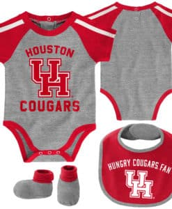 Houston Cougars Baby Gray Red 3 Piece Creeper Set