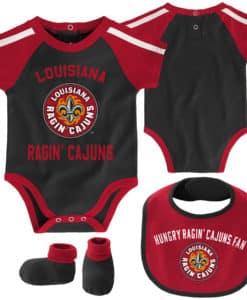 Louisiana Ragin Cajuns Baby Black 3 Piece Creeper Set