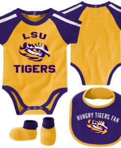 LSU Tigers Baby Gold Purple 3 Piece Creeper Set