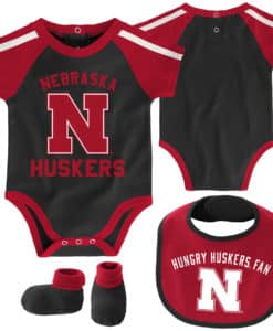 Nebraska Cornhuskers Baby Black Red 3 Piece Creeper Set