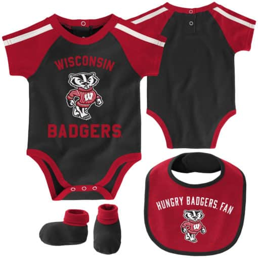 Wisconsin Badgers Baby Black 3 Piece Creeper Set