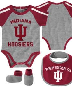 Indiana Hoosiers Baby Gray 3 Piece Creeper Set