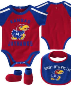 Kansas Jayhawks Baby Red Blue 3 Piece Creeper Set