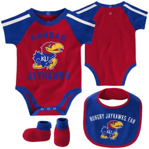 Kansas Jayhawks Baby Red Blue 3 Piece Creeper Set