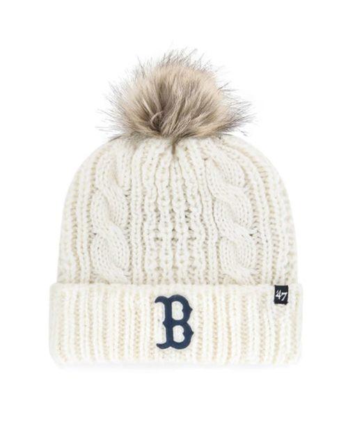 Boston Red Sox Women's 47 Brand White Cream Meeko Cuff Knit Hat