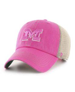 Michigan Wolverines Women's 47 Brand Pink Trawler Clean Up Khaki Mesh Snapback Hat