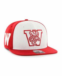 Wisconsin Badgers 47 Brand Sure Shot Accent Red Snapback Adjustable Hat