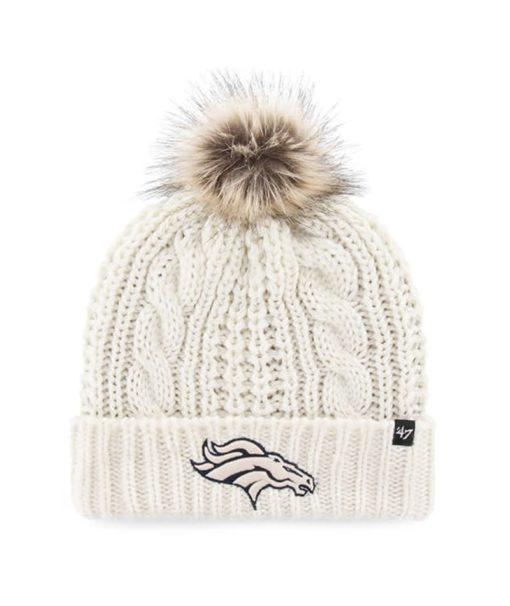 Denver Broncos Women's 47 Brand White Cream Meeko Cuff Knit Hat