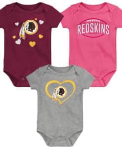 Washington Redskins Baby Girls 3 Piece Onesie Creeper Set