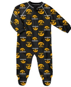 Iowa Hawkeyes Baby Black Raglan Zip Up Sleeper Coverall