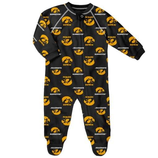 Iowa Hawkeyes Baby Black Raglan Zip Up Sleeper Coverall