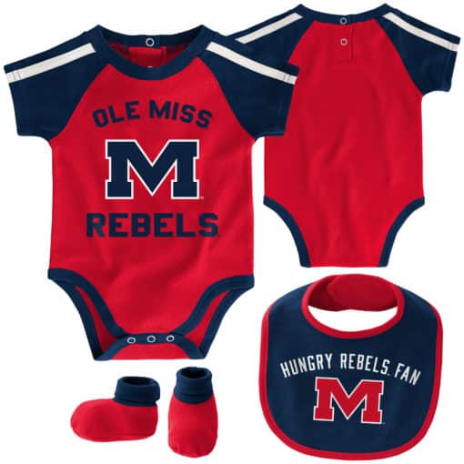 Mississippi Ole Miss Rebels Red Navy 3 Piece Creeper Set