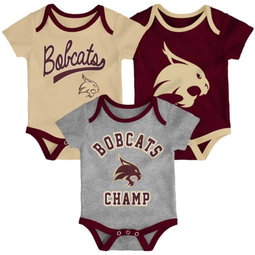 Texas State Bobcats 3 Pack Champ Onesie Creeper Set