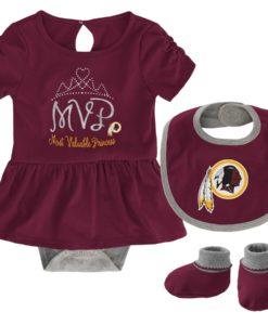 Washington Redskins Baby Girls Burgundy MVP Princess 3 Piece Creeper Set