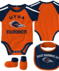 UTSA Texas San Antonio Roadrunners Orange Navy 3 Piece Creeper Set
