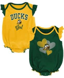 Oregon Ducks Baby Girl 2 Pack Onesie Creeper Set