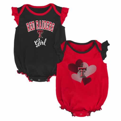Texas Tech Red Raiders Baby Girl 2 Pack Onesie Creeper Set