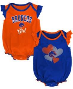 Boise State Broncos Baby Girl 2 Pack Onesie Creeper Set