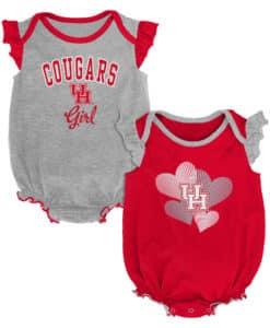 Houston Cougars Baby Girl 2 Pack Onesie Creeper Set