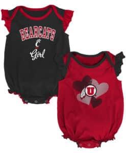 Cincinnati Bearcats Baby Girl 2 Pack Onesie Creeper Set