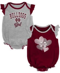 Mississippi State Bulldogs Baby Girl 2 Pack Onesie Creeper Set