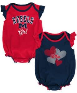 Mississippi Ole Miss Rebels Baby Girl 2 Pack Onesie Creeper Set