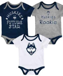 Connecticut Huskies Baby 3 Pack Future Star Onesie Creeper Set