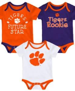 Clemson Tigers Baby 3 Pack Future Star Onesie Creeper Set