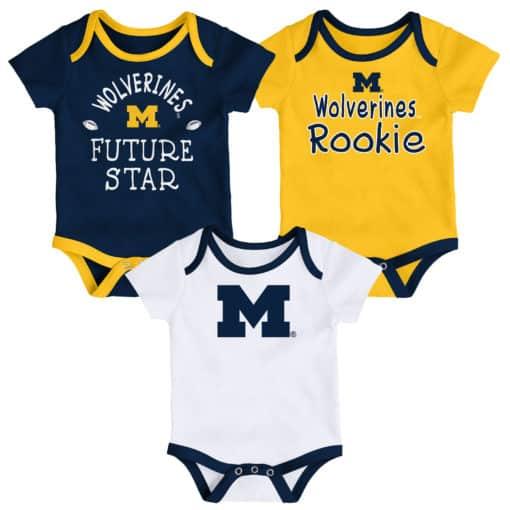 Michigan Wolverines Baby 3 Pack Future Star Onesie Creeper Set