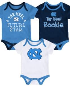 North Carolina Tar Heels Baby 3 Pack Future Star Onesie Creeper Set