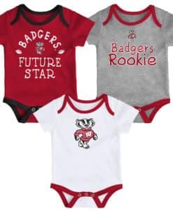 Wisconsin Badgers Baby 3 Pack Future Star Onesie Creeper Set