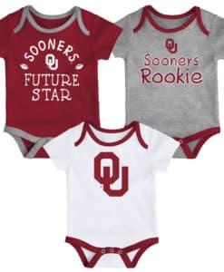 Oklahoma Sooners Baby 3 Pack Future Star Onesie Creeper Set