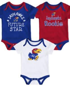 Kansas Jayhawks Baby 3 Pack Future Star Onesie Creeper Set