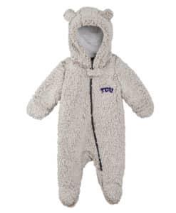 TCU Horned Frogs Gray Sherpa Hooded Teddy Full Zip Sleep & Play Coverall