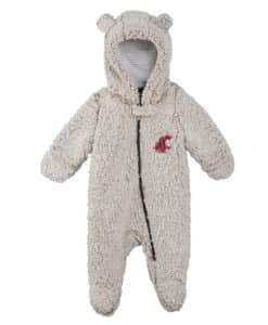 Washington State Cougars Baby Gray Sherpa Hooded Teddy Full Zip Sleep & Play Coverall