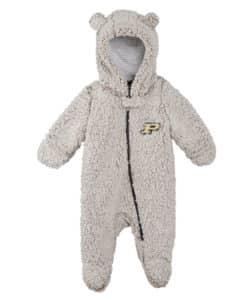Purdue Boilermakers Gray Sherpa Hooded Teddy Full Zip Sleep & Play Coverall