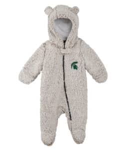 Michigan State Spartans Baby Gray Sherpa Hooded Full Zip Sleep & Play Coverall