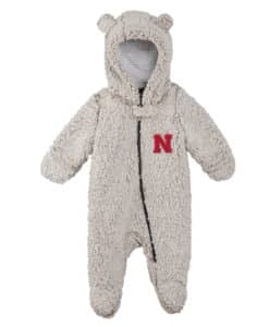 Nebraska Cornhuskers Gray Sherpa Hooded Teddy Full Zip Sleep & Play Coverall