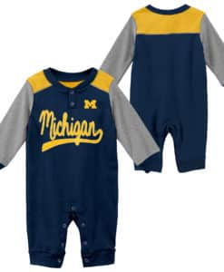 Michigan Wolverines Baby Navy Scrimmage Long Sleeve Coverall